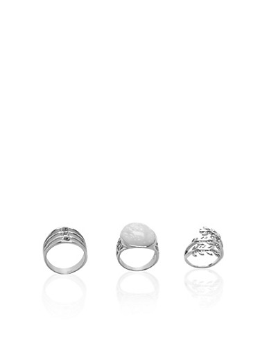 Set of 3 Rings with Crystals and Faux Gem Accents,SILVER,large