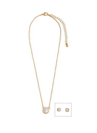 Crystal Pendant Necklace and Stud Earrings Set,GOLD,large