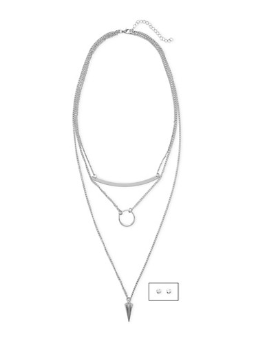 Tiered Pendant Necklace and Earrings Set,SILVER,large