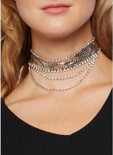 Rhinestone Mesh Choker Necklace,SILVER,large