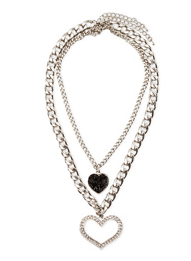 Double Chain Necklace with Rhinestone Hearts,SILVER,large