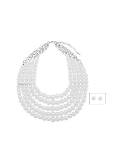 Faux Pearl 5 Row Necklace with Stud Earrings,SILVER,large
