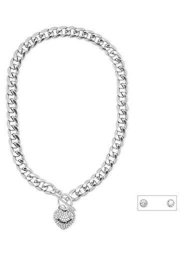 Collar Necklace with Heart Charm and Stud Earrings,SILVER,large