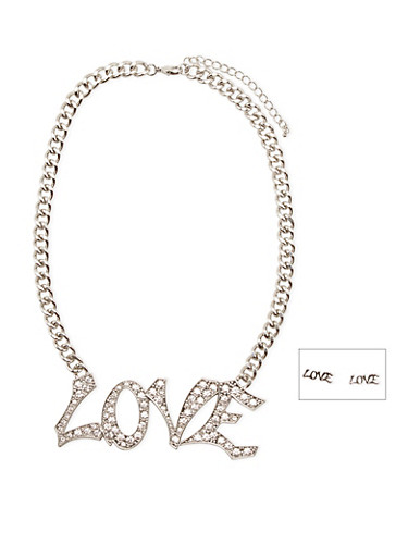 Rhinestone Love Chain Necklace with Stud Earrings,SILVER,large