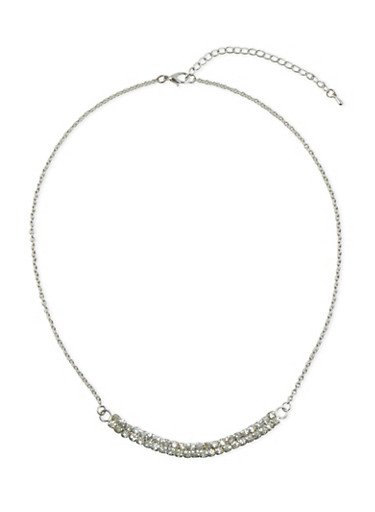 Necklace with Crystal Semi Circle,SILVER,large
