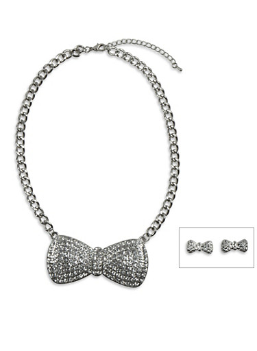 Textured Bow Earrings and Studded Bow Necklace Set,SILVER,large