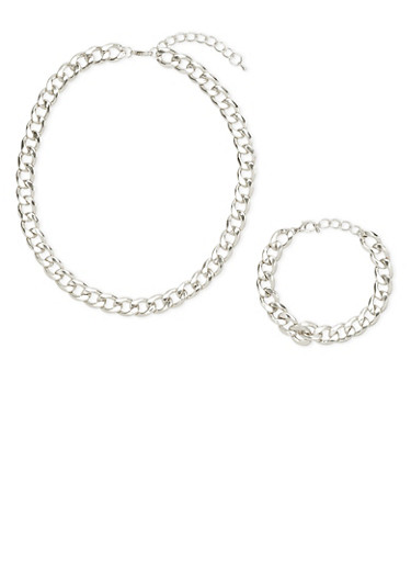 Matching Chain Necklace and Bracelet Set,SILVER,large