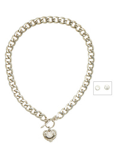 Curb Chain Necklace with Crystal Covered Heart and Earring Set,SILVER,large
