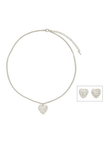 Necklace and Earrings Set with Crystal Hearts,SILVER,large