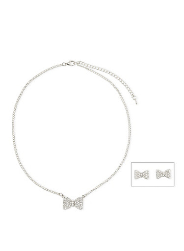 Rhinestone Bow Necklace with Matching Stud Earrings,SILVER,large