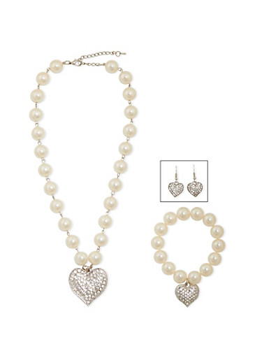 Faux Pearl and Crystal Heart Jewelry Set,SILVER,large