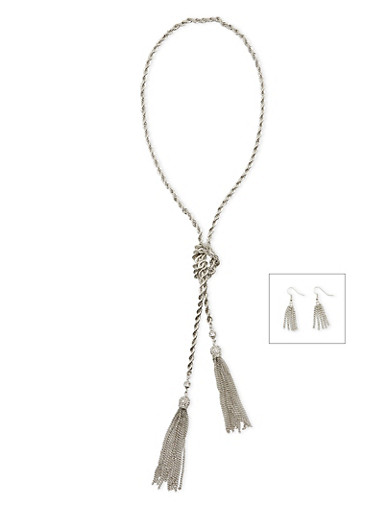 Tassel Drop Earrings and Twisted Necklace Set,SILVER,large