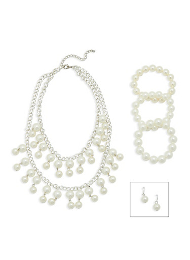 Faux Pearl Jewelry Set,SILVER,large