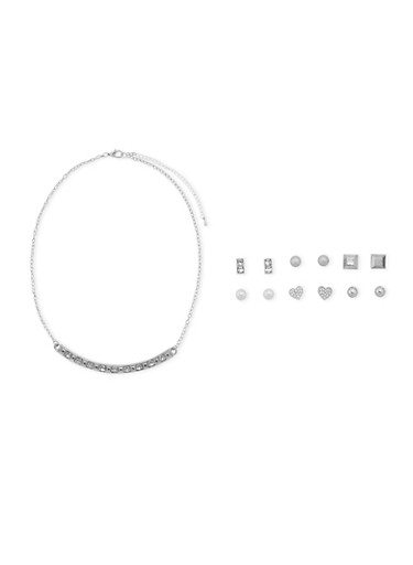 Set of 6 Earrings and Necklace Set,SILVER,large