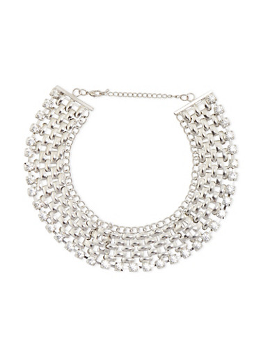 Chain Mesh Collar Necklace with Crystal Accents,SILVER,large