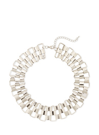 Woven Chain Necklace,SILVER,large