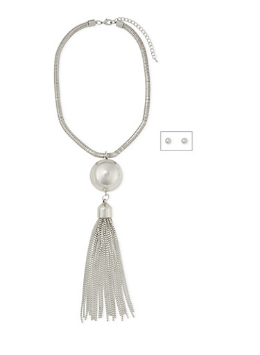 Large Tassel Necklace and Stud Earrings Set,SILVER,large