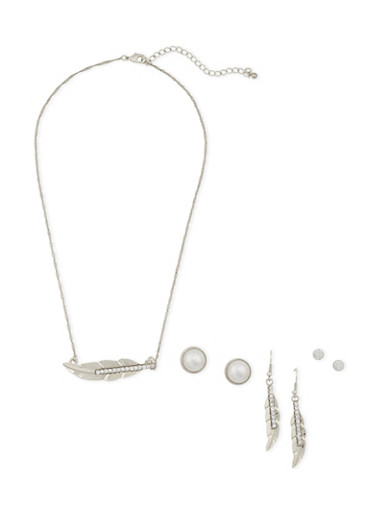 Necklace and 3 Stud Earrings Set,SILVER,large