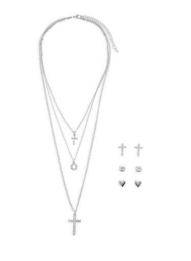 Layered Charm Necklace with Stud Earrings,SILVER,large