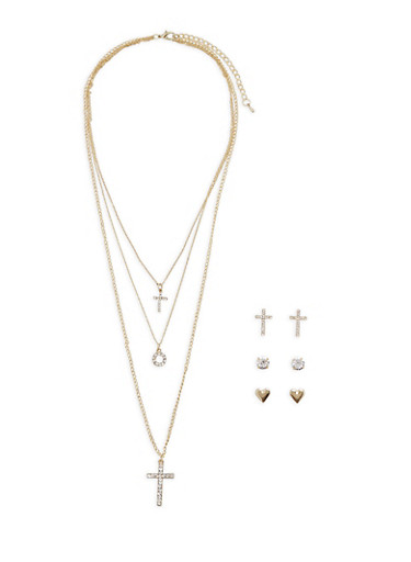 Layered Charm Necklace with Stud Earrings,GOLD,large