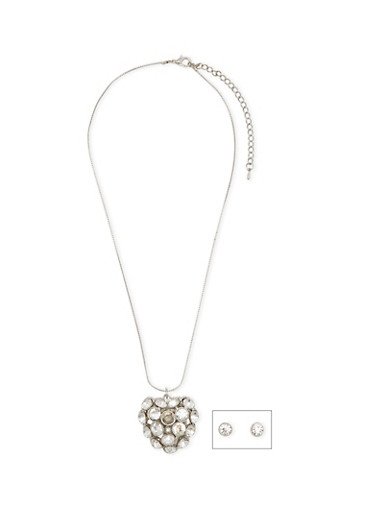 Crystal Heart Pendant Necklace and Earrings Set,SILVER,large