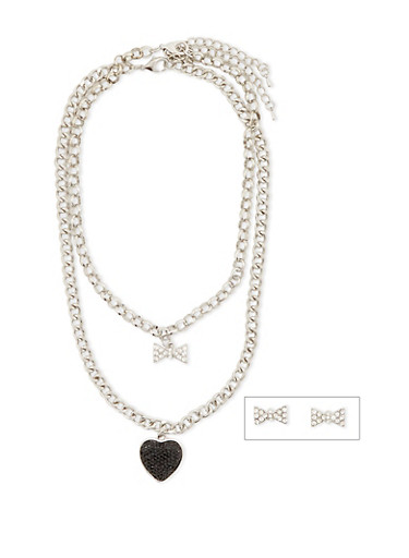 2 Charm Necklaces and Earrings Set,SILVER,large
