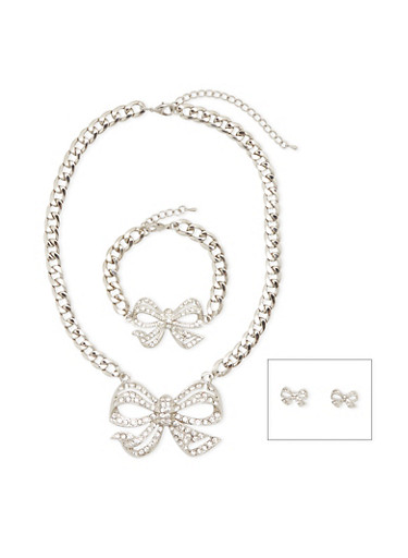 Crystal Bow Necklace with Bracelet and Earrings Set,SILVER,large