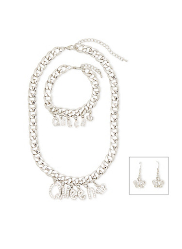Crystal Queen Necklace with Bracelet and Earrings Set,SILVER,large