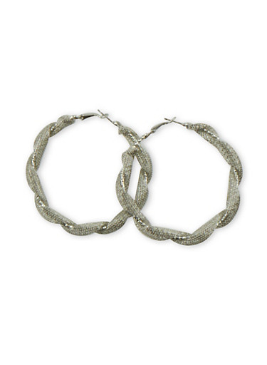 Hoop Earrings with Twisted Mesh Design,SILVER,large