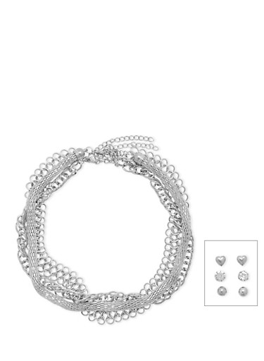 Set of 6 Assorted Chain Necklaces and Stud Earrings,SILVER,large