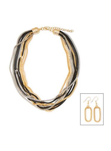 Multistrand Necklace and Earrings Set,TRITONE (SLVR/GLD/HEMAT),large
