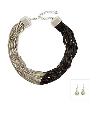 Multi-Strand Necklace and Earring Set,SILVER,large