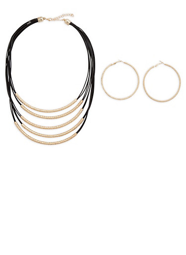 Layered Faux Leather Metallic Necklace and Hoop Earring Set,JET,large