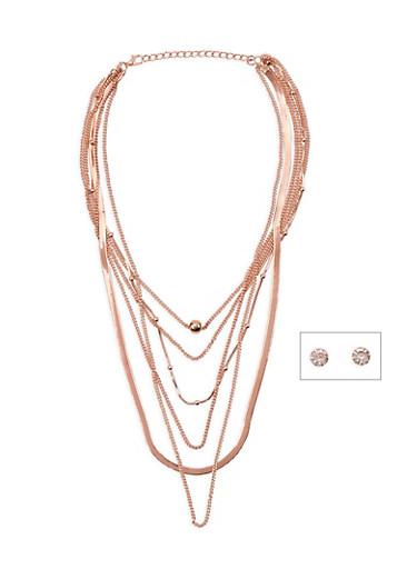 Layered Cobra Necklace and Rhinestone Earrings,ROSE,large
