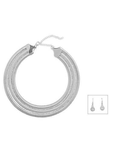 Triple Coil Necklace with Rhinestone Earrings Set,SILVER,large