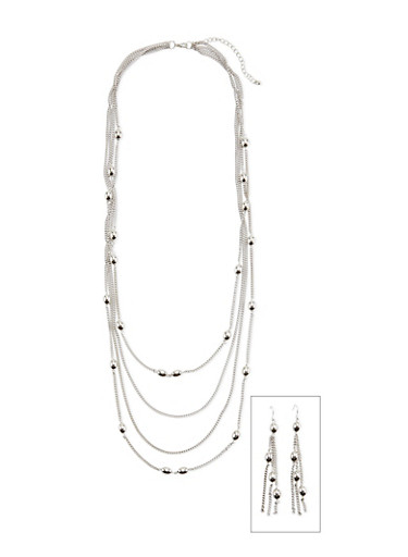 Multi Strand Chain Necklace with Oval Beads,SILVER,large