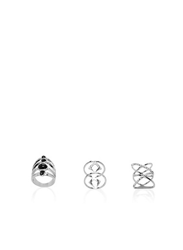 Set of 3 Rings with Multi Band Designs,SILVER,large