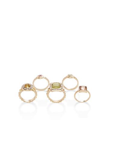 Set of 5 Rhinestone Rings,GOLD,large