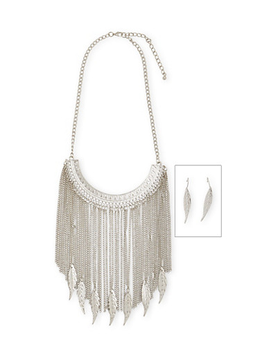 Chain Fringe Necklace with Etched Leaf Earrings Set,SILVER,large