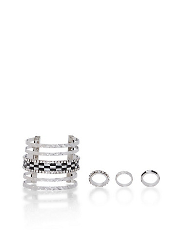 Embellished Cuff and 3 Ring Set,SILVER,large