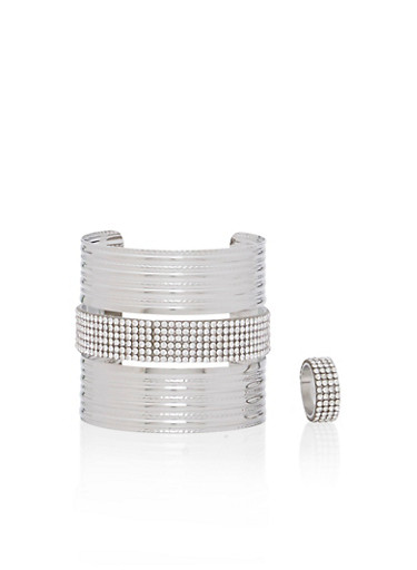Wide Cuff and Ring Set,SILVER,large