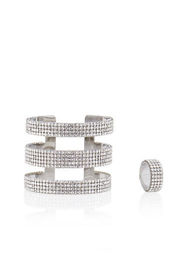 Crystal Covered Cuff and Ring Set,SILVER,large