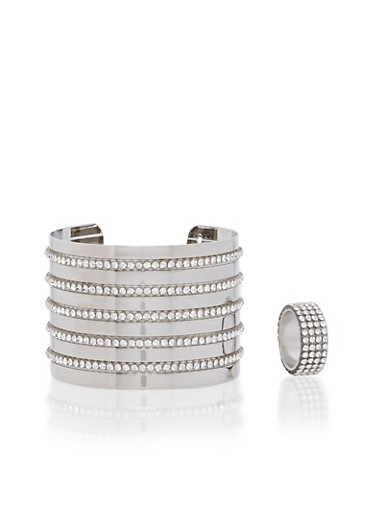 Crystal Covered Wide Cuff and Ring Set,SILVER,large