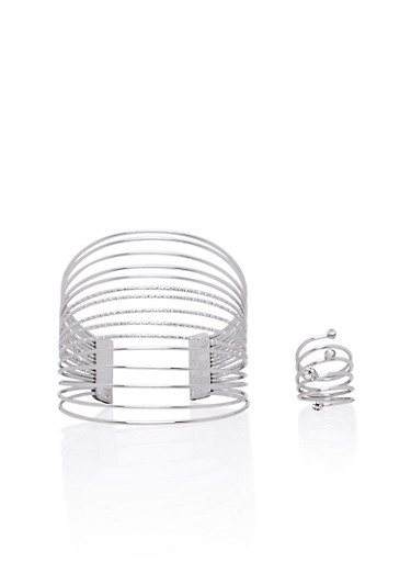 Multi-Strand Cuff and Spiral Ring Set,SILVER,large