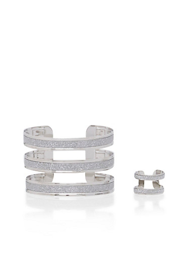 Multi-Strand Cuff and Ring Set with Glitter Accents,SILVER,large