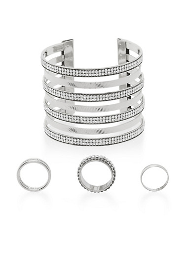 Multi Band Cuff and 3 Ring Set,SILVER,large