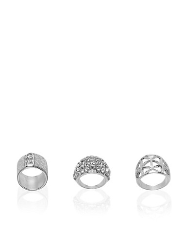 Set of 3 Rings with Glitter and Crystal Accents,SILVER,large
