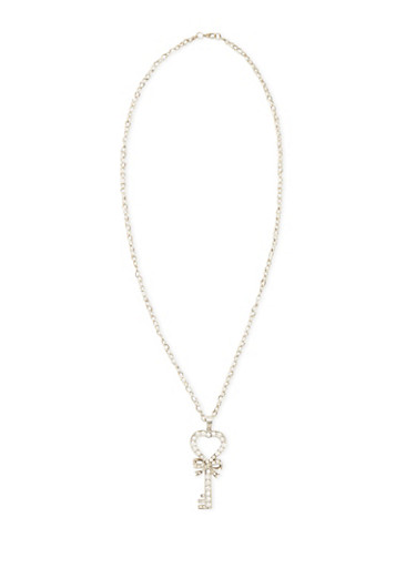 Necklace with Studded Key Pendant,SILVER,large