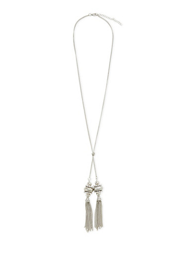 Necklace with Crystal Tassel Pendants,SILVER,large
