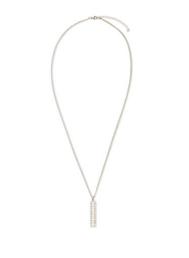 Crystal Pendant Necklace,SILVER,large